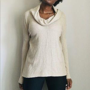Lucky Brand Waffle knit cowl neck sweater Size S
